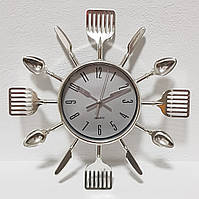 """Настенные часы (25 см) на кухню """"Ложки-вилки-ножи"""" столовые приборы серебро [Пластик] Best Time"""