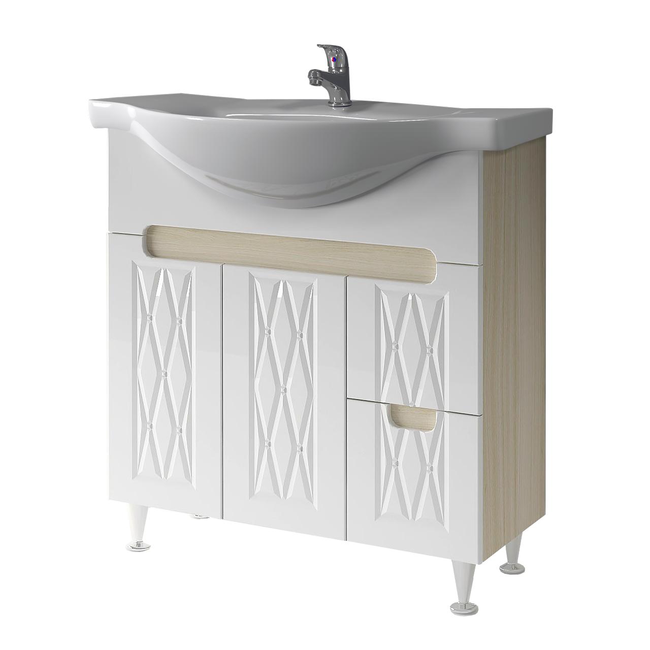 Тумба под раковину для ванной комнаты Венеция Вт 2-80м ( дуб молочный ) с умывальником Libra 80 ВанЛанд