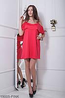 4df1ed53315beb8 Воздушное платье свободного кроя с баской на плечах Ariana