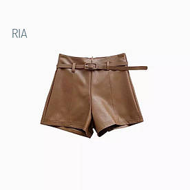 Кожаные шорты короткие с пояском