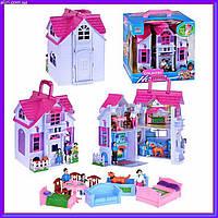 Раскладной двухэтажный кукольный Домик с куклами и мебелью F611