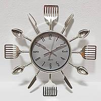 """Настенные часы на кухню """"Ложки-вилки-ножи"""" столовые приборы (25х25 см) [Пластик] Best Time"""