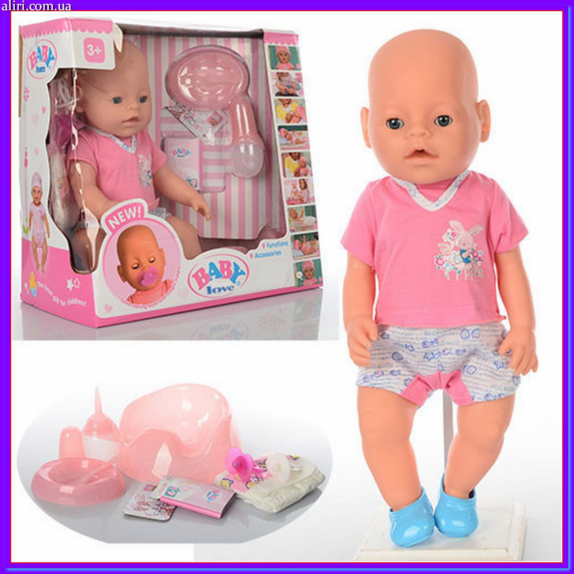 Кукла пупс 42 см с аксессуарами BB 8009-435 аналог Беби Борна