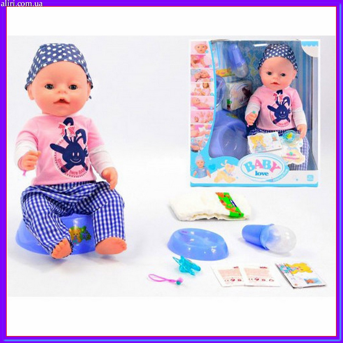 Кукла пупс с аксессуарами BL013A 42 см аналог Беби Борн