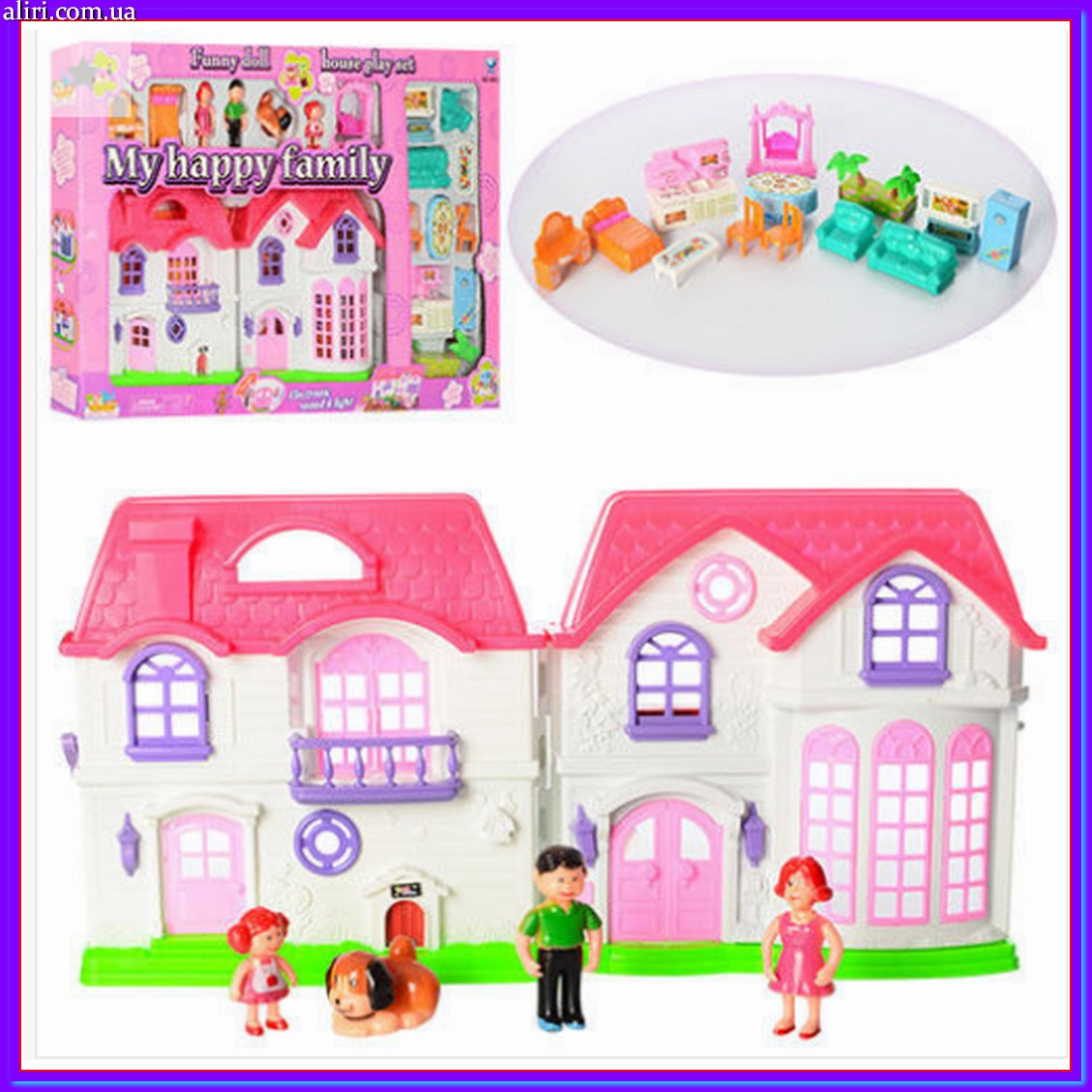 Музыкальный кукольный домик с семьей, мебелью, собачкой 8032