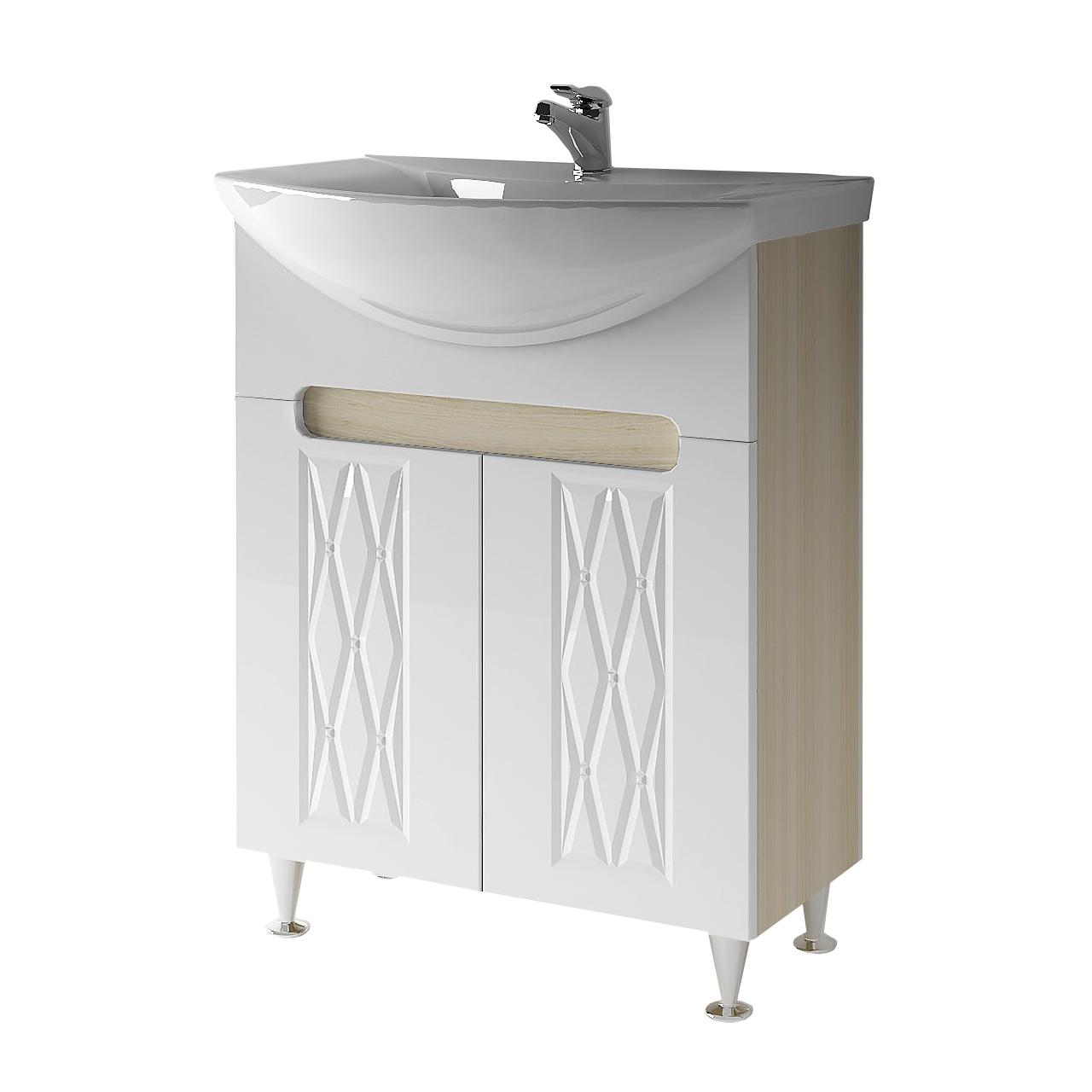 Тумба под раковину для ванной комнаты Венеция Вт 1-65м ( дуб молочный ) с умывальником Omega 65 ВанЛанд