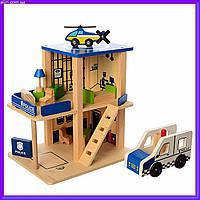 Деревянная игрушка Гараж MD 1059-1 полицейский участок, фото 1