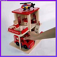 Деревянная игрушка Гараж MD 1059-2 пожарная станция, фото 1