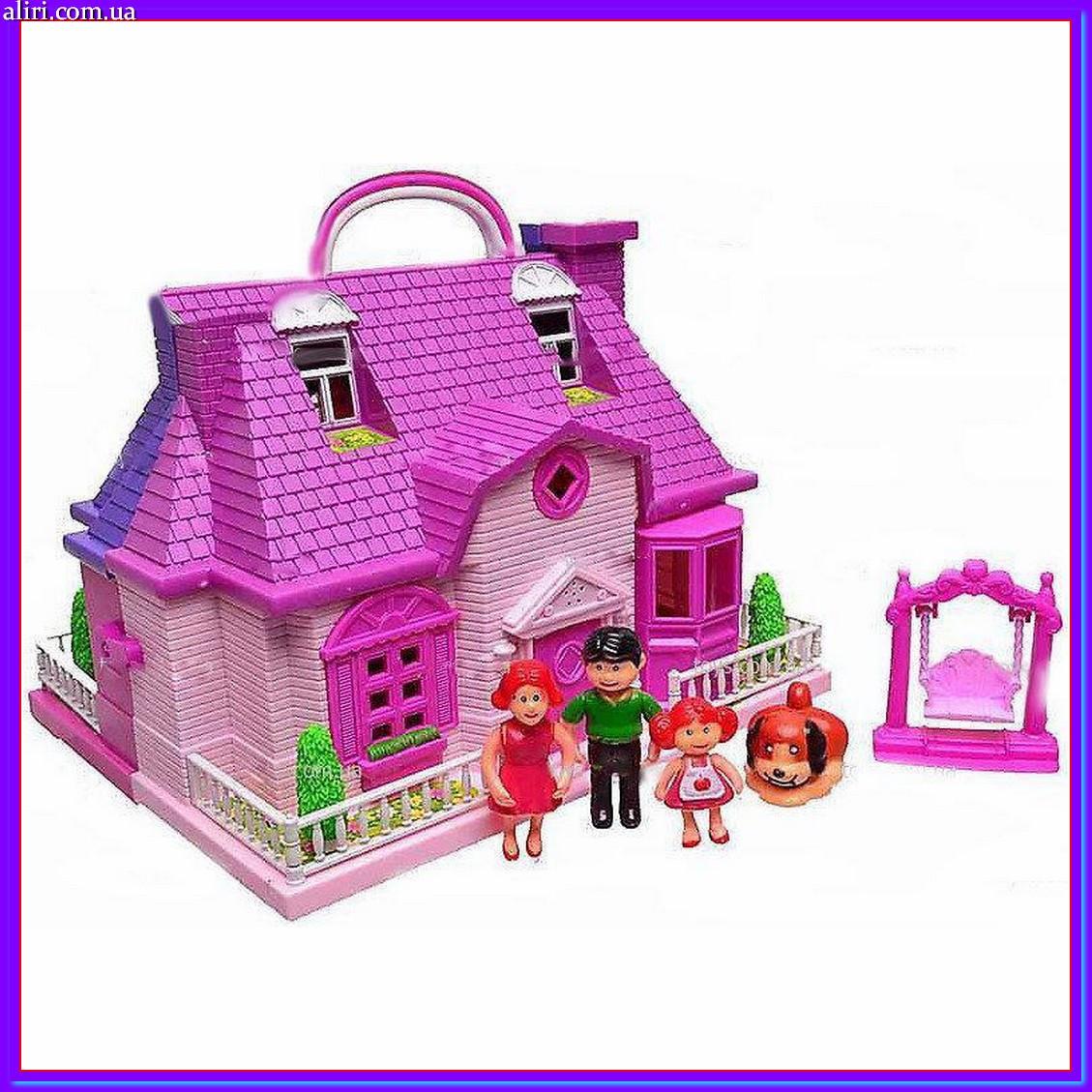 Кукольный домик с мебелью, 4 куклами, собачкой со светом и звуком 8039