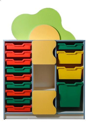 """Стенка детская """"Цветочная поляна"""" №11 с пластиковыми ящиками. в детский сад, школу."""