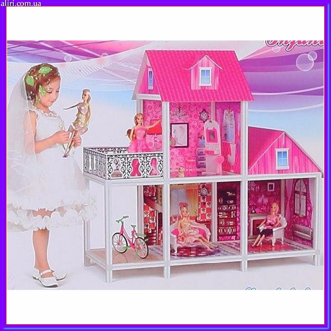 Домик двухэтажный для куклы с мебелью и 3 куклами 66883