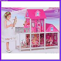 Домик двухэтажный для куклы с мебелью и 3 куклами 66883 , фото 1