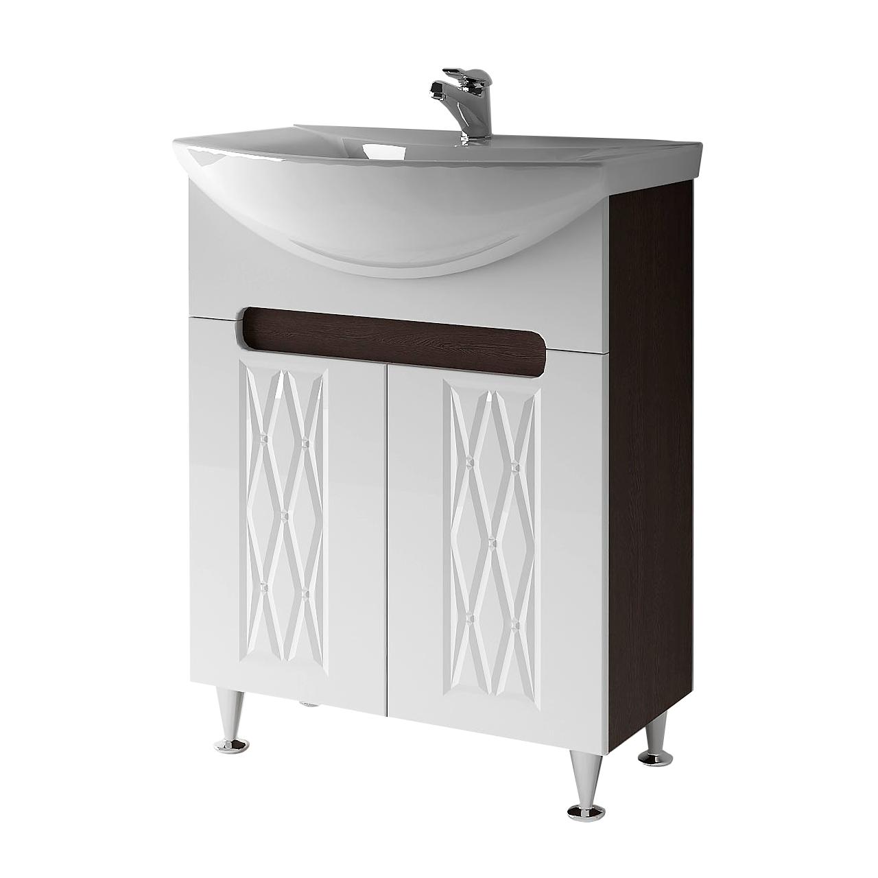 Тумба під раковину для ванної кімнати Венеція Вт 1-65в ( венге ) з умивальником Omega 65 ВанЛанд