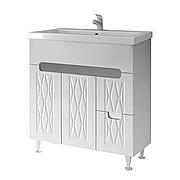 Тумба под раковину для ванной комнаты Венеция Вт 2-90 ( белая ) с умывальником Como 90 ВанЛанд