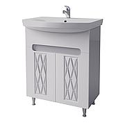 Тумба под раковину для ванной комнаты Венеция Вт 1-70 ( белая ) с умывальником Карина 70 ВанЛанд