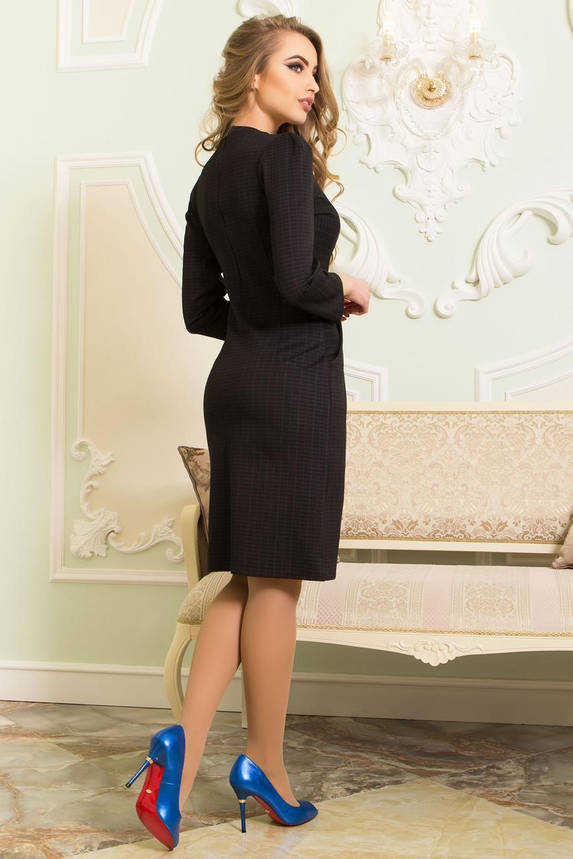 Трикотажное платье черное в клеточку офисное приталенное, фото 2