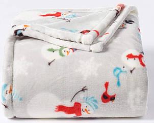 П  Фирменный теплый плед Снеговики The Big One Velsoft Plush США Оригинал