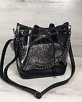 Прозрачная силиконовая сумка 23114 через плечо с клатчем с блестками, фото 1