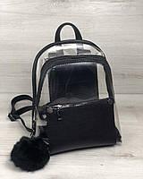 Силиконовый прозрачный рюкзак 44413 черный маленький на молнии