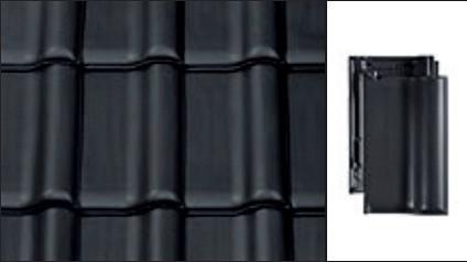 Черепица керамическая Creaton Titania (Креатон Титания) ангоба черная матовая, фото 1