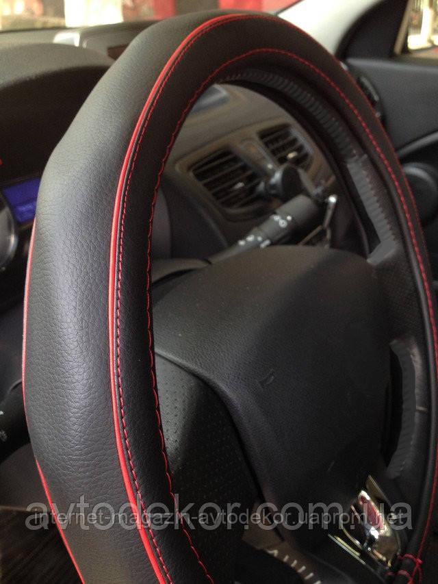 Оплетка на руль, экокожа черно красная.