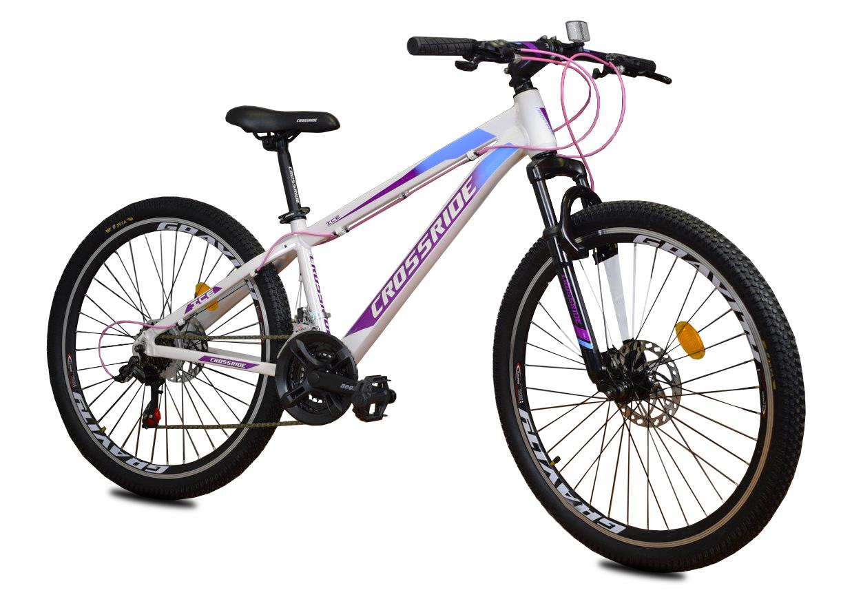 """Горный велосипед CROSSRIDE """"ICE"""" 26"""" алюминиевый с дисковыми тормозами, Бело-фиолетовый"""