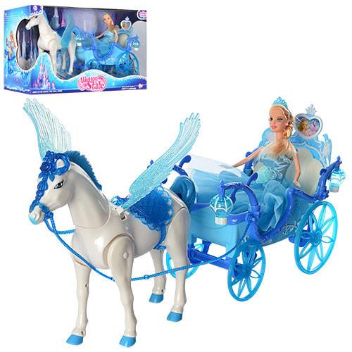 Кукольная Карета с куклой 227A,лошадь с крыльями ходит ,свет,звук