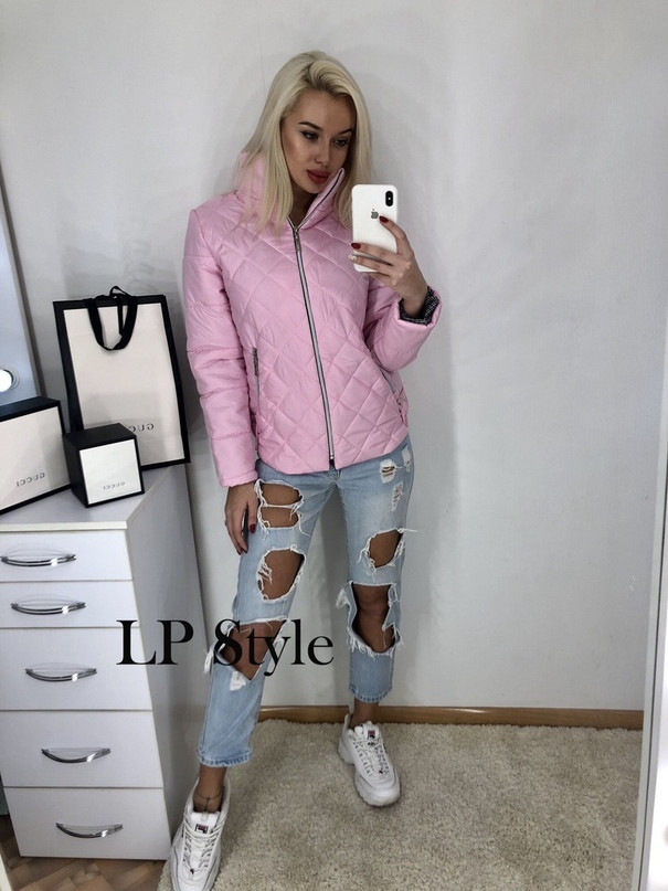 Розовая стёганная куртка без капюшона