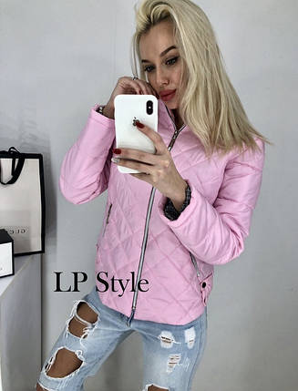Розовая стёганная куртка без капюшона, фото 2