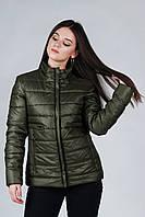 Демисезонная женская короткая куртка хаки