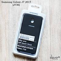 Оригинальный силиконовый чехол Silicone Cover для Samsung Galaxy J7 2017 (j730) (черный, микрофибра внутри)
