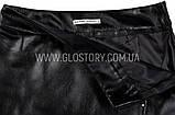 Женская длинная кожаная юбка черная, фото 3