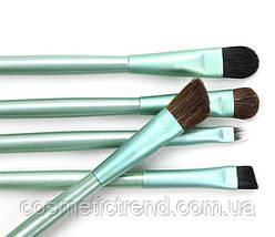 Набір 5 кистей для макіяжу очей в металевому футлярі/тубусі (колір зелений), фото 2
