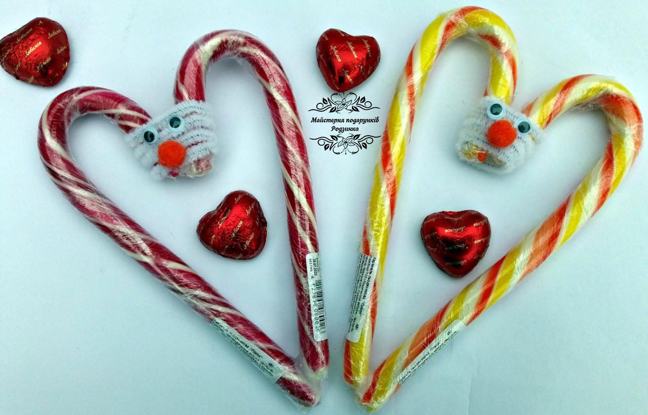 Солодке серце Валентинка з цукерок посох