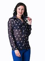 Молодежная шифоновая блуза прямого силуэта