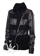 Черная кожаная куртка со стразами