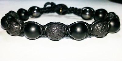 Мужской кожаный браслет из Агата и Вулканического камня