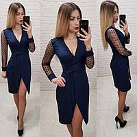 Нарядное элегантное платье на запах с декором на рукавах из сетки в горох. Цвет  синий 27ffeb32ca861