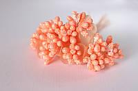 Декоративные веточки облепихи 10-12  шт/уп. персикового цвета с блеском, фото 1