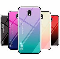 TPU+Glass чехол градиент для Samsung Galaxy J5 J530 2017 HELLO (Разные цвета)