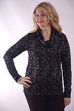 Блузка  серая трикотажная нарядная удлиненная с воротом хомут 46-54, Бл 664-4