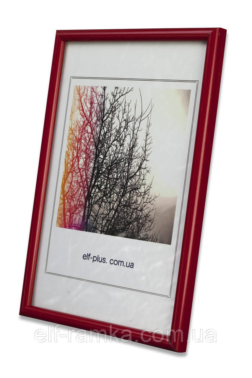 Рамка 21х21 из пластика - Красный яркий - со стеклом