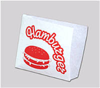 Уголок для гамбургера с печатью 150х125х0 (Белый крафт)