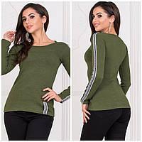 Стильный женский ангоровый свитер кофточка туника Love с длинным рукавом хаки 42-44 46-48 48-50, фото 1