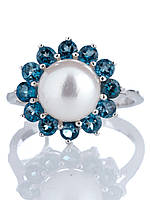 """Кольцо серебряное с жемчугом и топазом """"London Blue"""""""