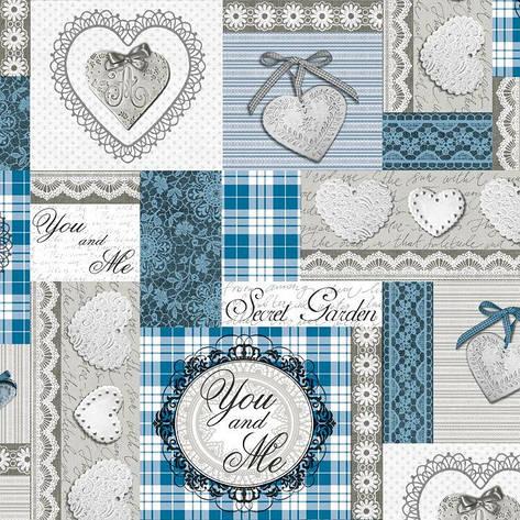 Скатерть с сердцами голубая с серым, фото 2