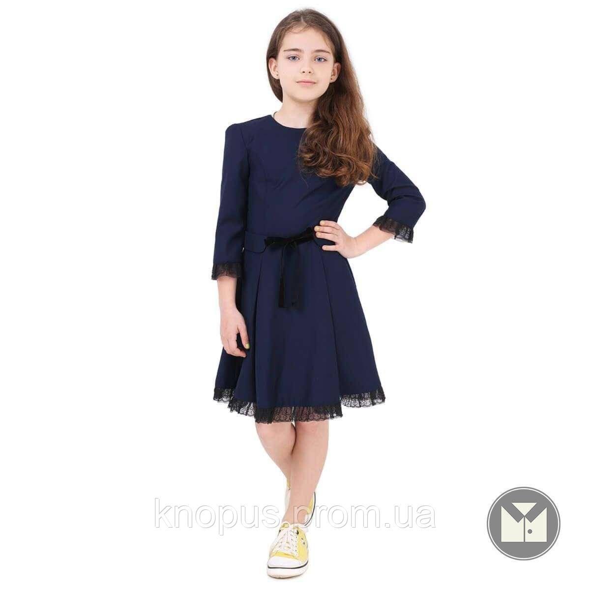 Платье для девочки полушерстяное, рукав 3/4, синее/черное, Timbo