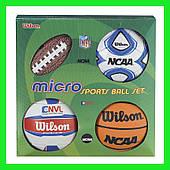 Сувенирный набор из 4-х мини-мячей Wilson Micro sports 4ball kit (баскетбол, футбол, волейбол, америк. футбол)