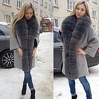 Пальто женское серое с мехом песца, 90 см