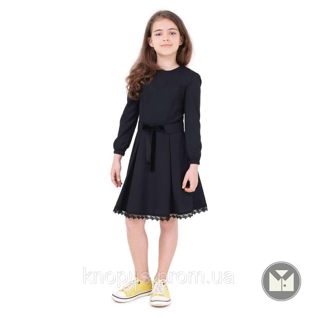 Платье для девочки полушерстяное, черное, Timbo